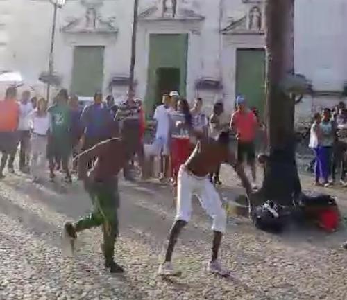 Capoeira en el Pelourinho, en Salvador de Bahía