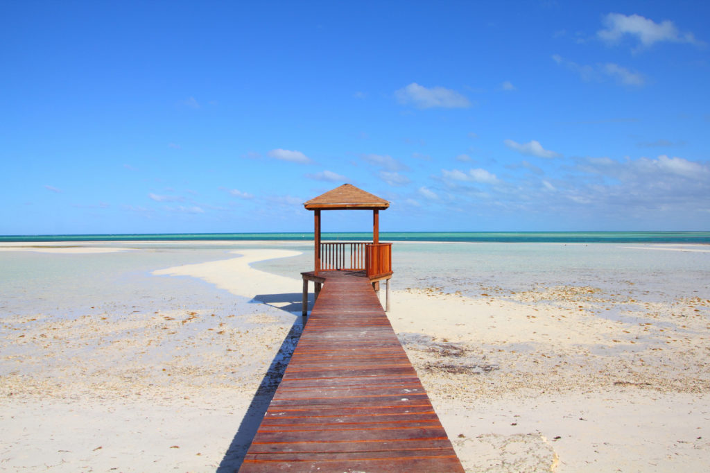 Cuba - Caribbean beach Cayo Guillermo. Sandy coast and seaside boardwalk. Jardines del Rey region.