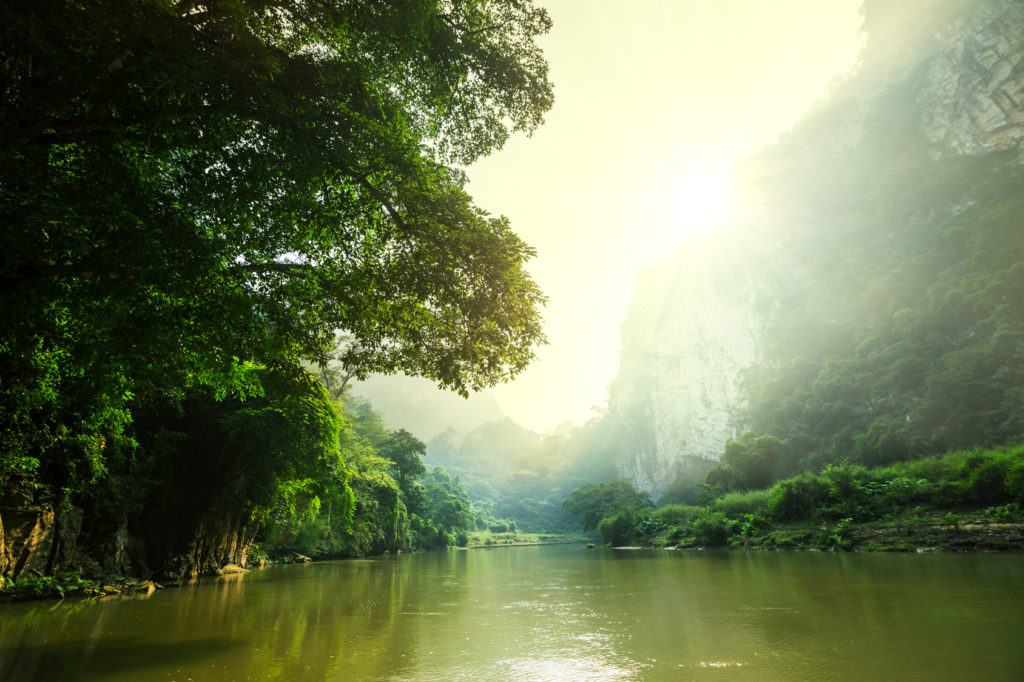 tropical river in Laos
